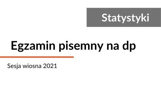Statystyki egzaminów pisemnych na dp wiosna 2021